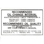 Canada Oil Change Decals And Tags